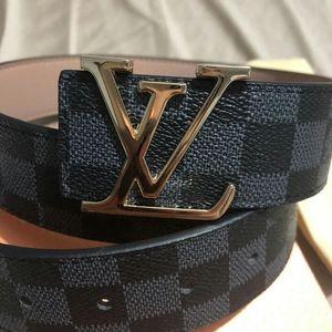 LV damier graphite black, gold buckle 1 inch